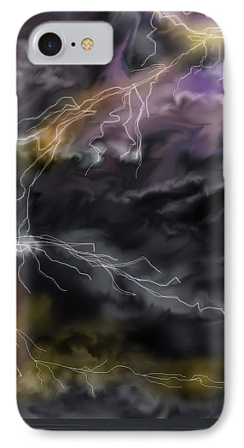 Seascape IPhone 7 Case featuring the painting Shock And Awe by Anne Norskog