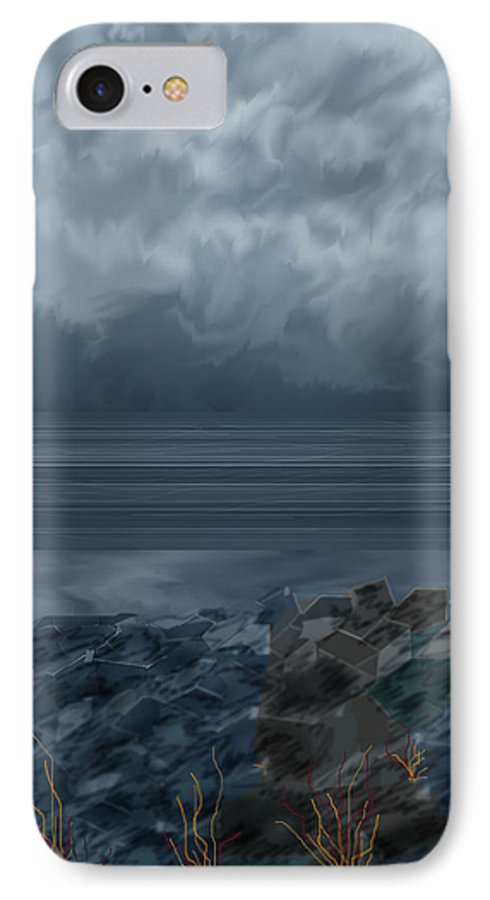 Seascape IPhone 7 Case featuring the painting Slack Tide On The Jetty by Anne Norskog