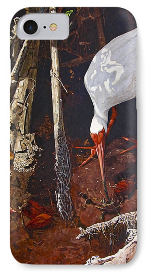 Waterfowl IPhone 7 Case featuring the painting Sparring For Lunch by Peter Muzyka