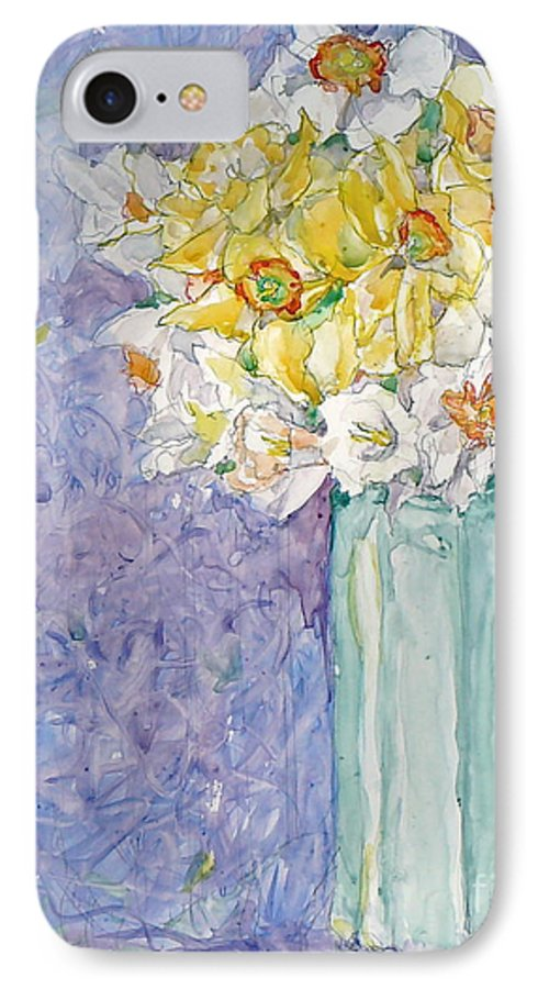 Watercolor IPhone 7 Case featuring the painting Spring Blossoms by Jan Bennicoff