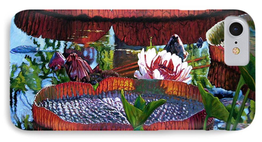 Water Lilies IPhone 7 Case featuring the painting Sunlight Shining Through by John Lautermilch