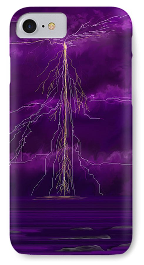 Lightning Storm IPhone 7 Case featuring the painting Tesla by Anne Norskog