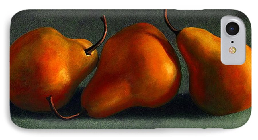 Still Life IPhone 7 Case featuring the painting Three Golden Pears by Frank Wilson