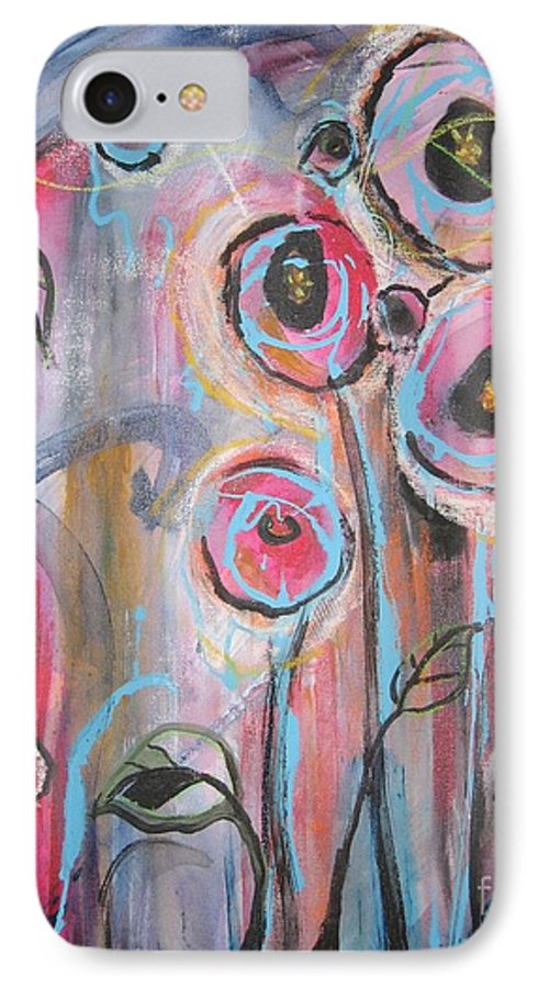Aabstract Paintings IPhone 7 Case featuring the painting Too Many Temptations by Seon-Jeong Kim