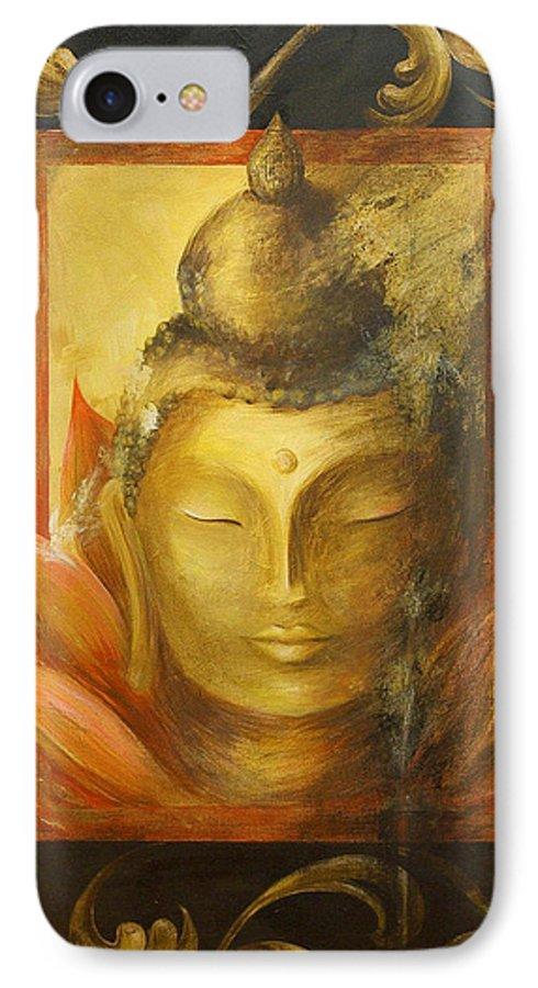 Buddha Buddhist Spiritual Yoga Lotus Meditation IPhone 7 Case featuring the painting Transcendence by Dina Dargo