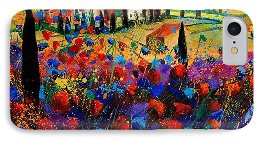 Flowers IPhone 7 Case featuring the painting Tuscany Poppies by Pol Ledent