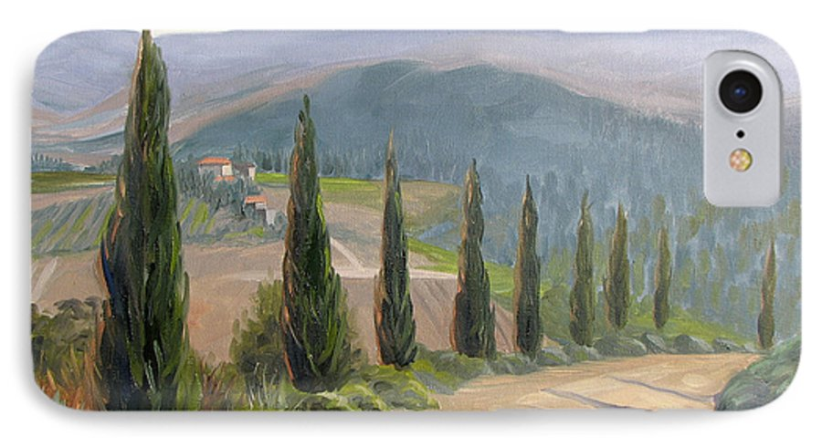 Landscape IPhone 7 Case featuring the painting Tuscany Road by Jay Johnson