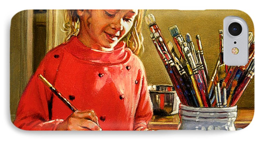 Young Girl Painting IPhone 7 Case featuring the painting Young Artist by John Lautermilch