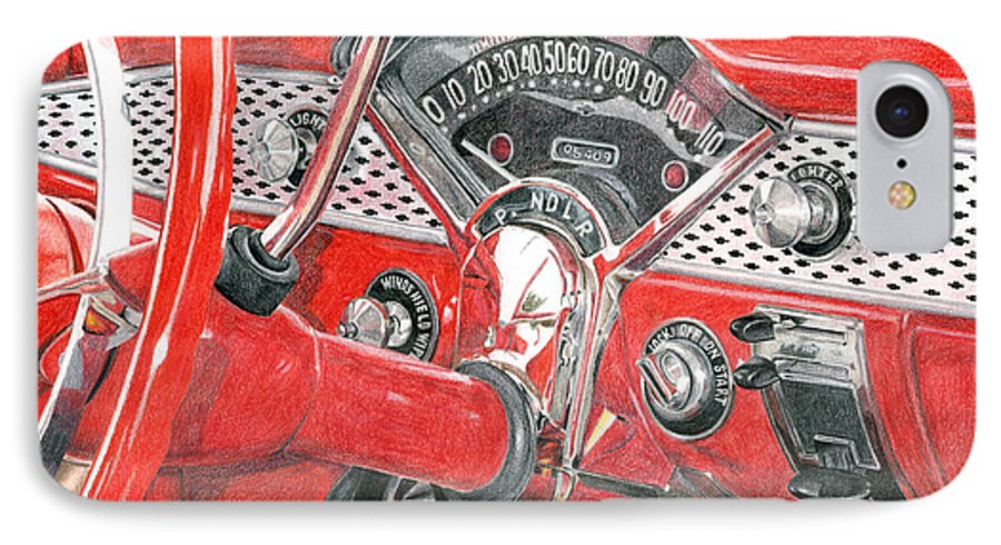 Classic IPhone 7 Case featuring the drawing 1955 Chevrolet Bel Air by Rob De Vries