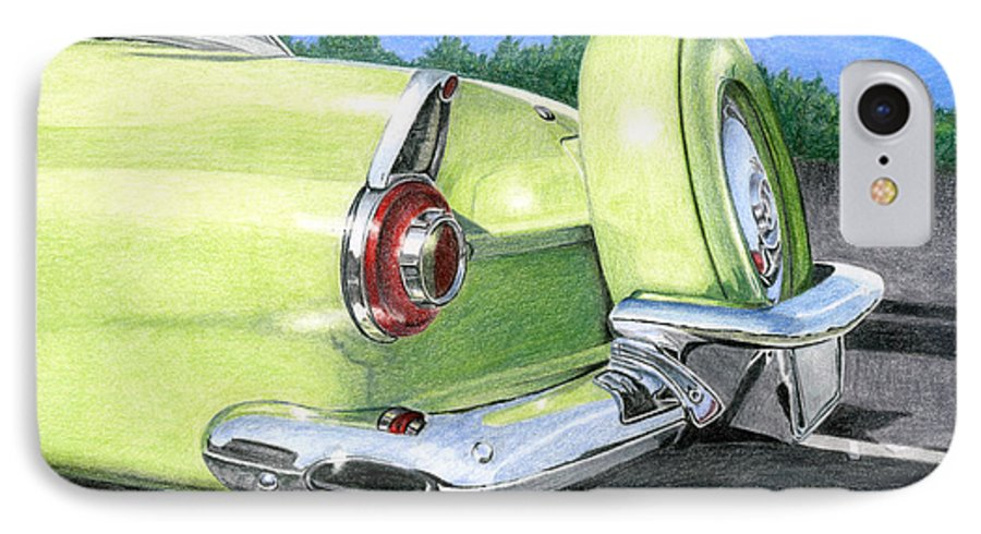 Classic IPhone 7 Case featuring the drawing 1956 Ford Thunderbird by Rob De Vries