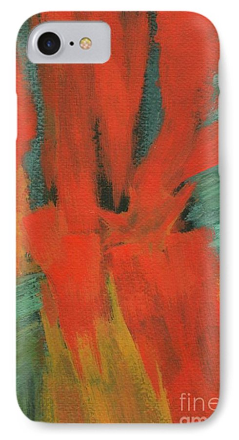 Abstract IPhone 7 Case featuring the painting A Moment In Time by Itaya Lightbourne