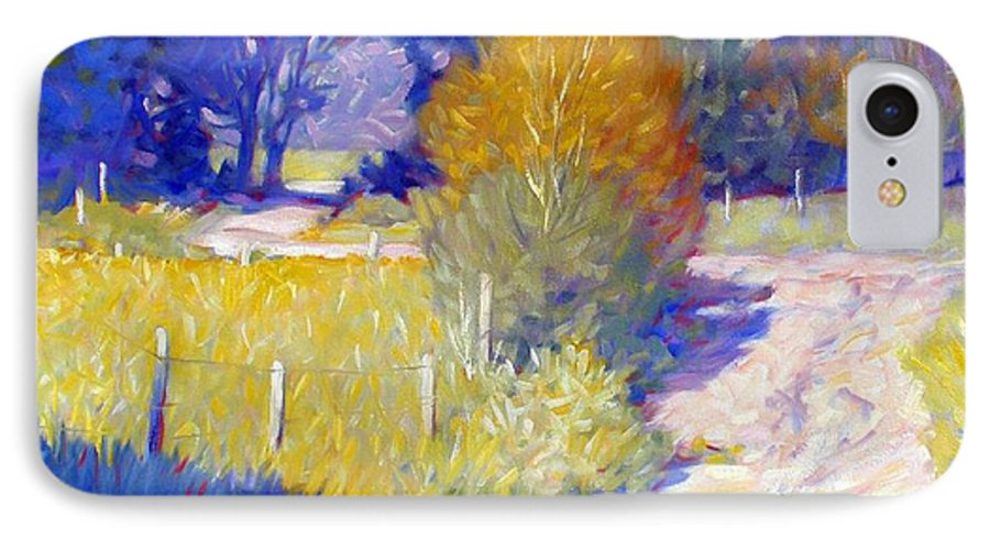 Landscape IPhone 7 Case featuring the painting Back Road by Kevin Lawrence Leveque