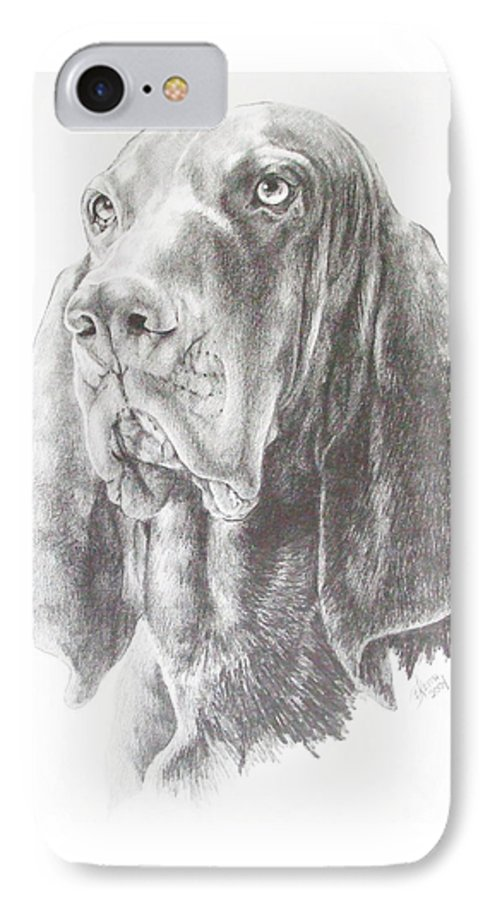 Dog IPhone 7 Case featuring the drawing Black And Tan Coonhound by Barbara Keith