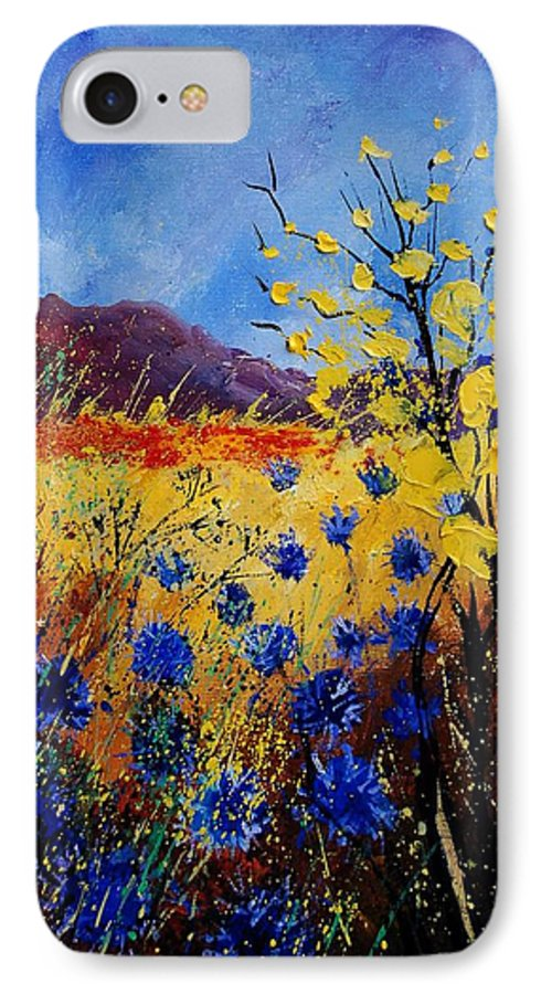 Poppies Flowers Floral IPhone 7 Case featuring the painting Blue Cornflowers by Pol Ledent