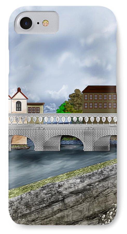 Galway Ireland Bridge IPhone 7 Case featuring the painting Bridge In Old Galway Ireland by Anne Norskog