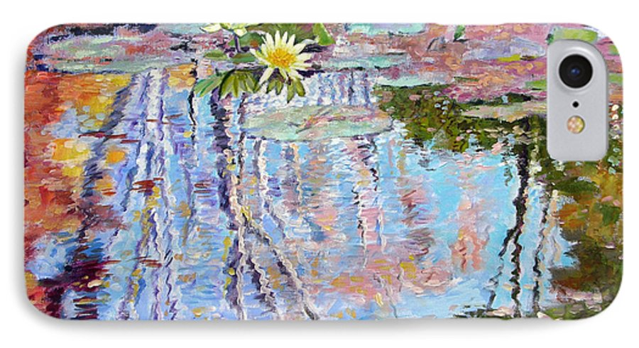 Garden Pond IPhone 7 Case featuring the painting Fall Reflections by John Lautermilch