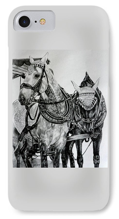 Horse Pencil Black White Germany Rothenburg IPhone 7 Case featuring the drawing 2 Horses Of Rothenburg 2000usd by Karen Bowden