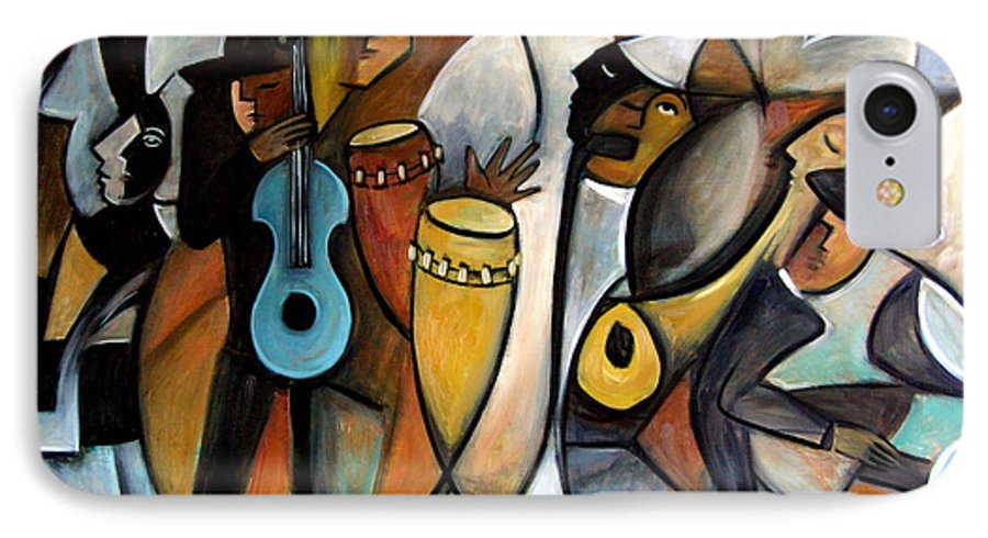 Latin Jazz Musicians IPhone 7 Case featuring the painting Jazzz by Valerie Vescovi