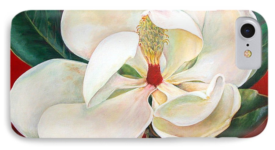 Floral Painting IPhone 7 Case featuring the painting Magnolia by Muriel Dolemieux