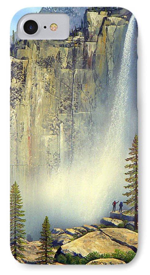 Landscape IPhone 7 Case featuring the painting Misty Falls by Frank Wilson