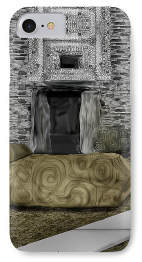 Newgrange IPhone 7 Case featuring the painting Newgrange Ireland by Anne Norskog