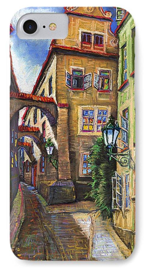 Prague IPhone 7 Case featuring the painting Prague Old Street by Yuriy Shevchuk