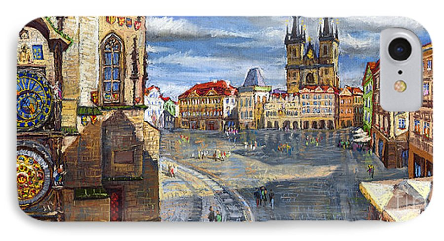 Pastel IPhone 7 Case featuring the painting Prague Old Town Squere by Yuriy Shevchuk