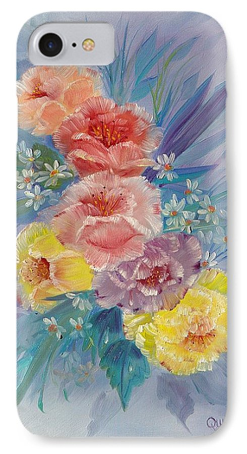Roses IPhone 7 Case featuring the painting Roses by Quwatha Valentine