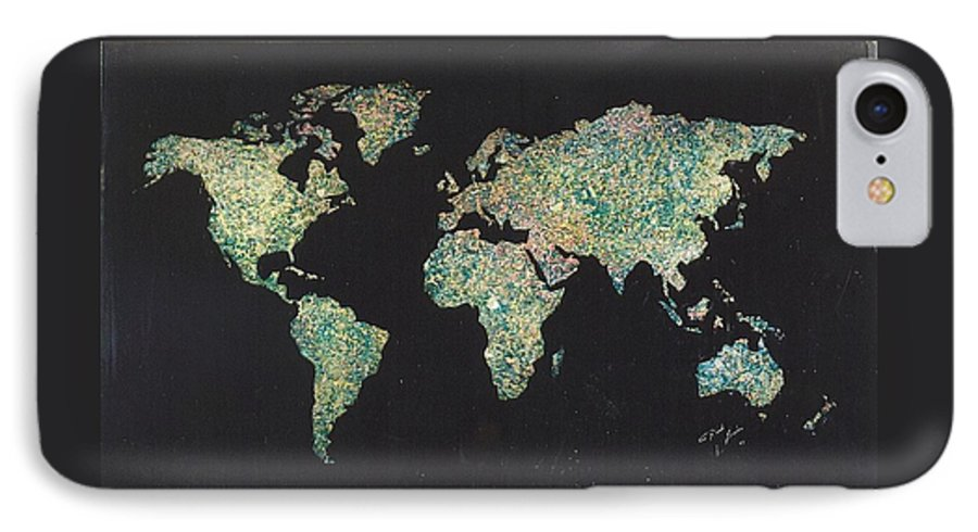 World Maps IPhone 7 Case featuring the painting Shattered World by Rick Silas