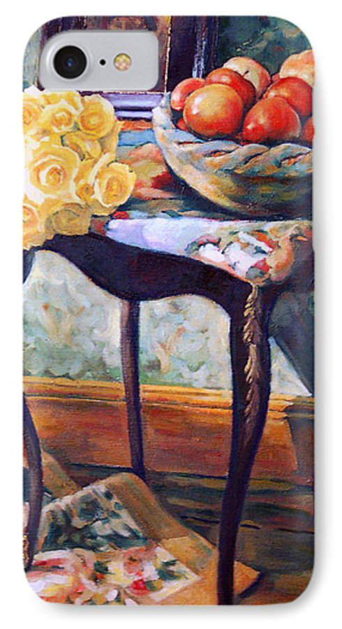 Still Life IPhone 7 Case featuring the painting Still Life With Roses by Iliyan Bozhanov
