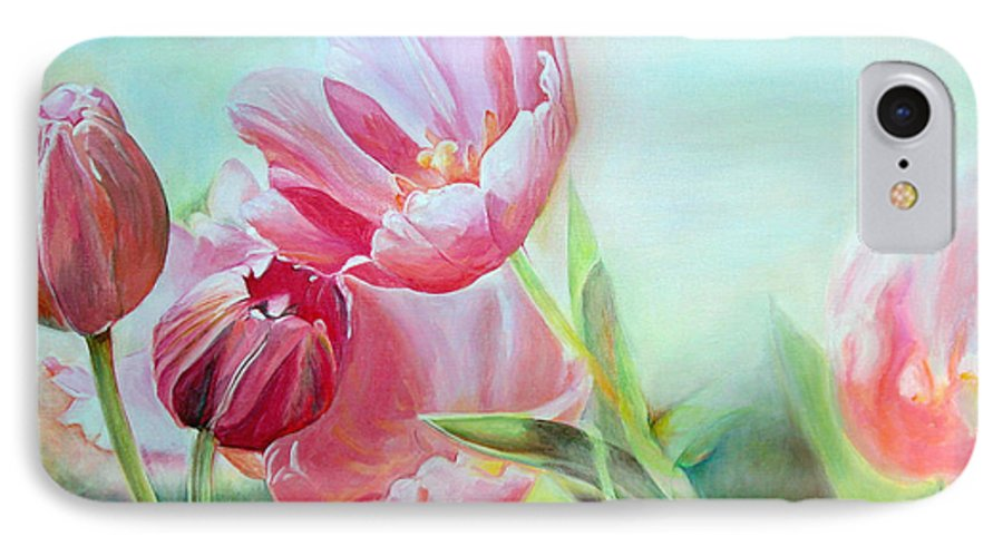 Floral Painting IPhone 7 Case featuring the painting Tulipes by Muriel Dolemieux