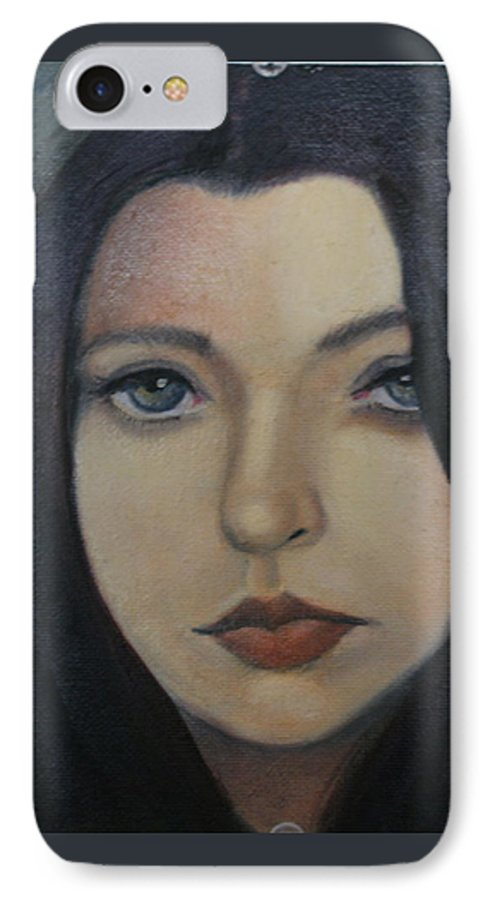 Girl IPhone 7 Case featuring the painting That Stare by Toni Berry