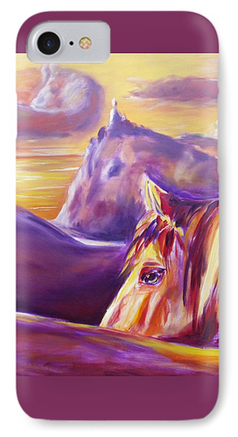 Horses IPhone 7 Case featuring the painting Horse World by Gina De Gorna
