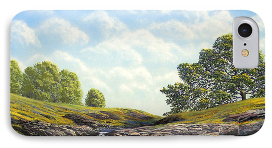 Landscape IPhone 7 Case featuring the painting Flowering Meadow by Frank Wilson