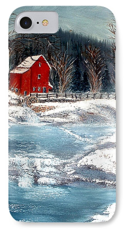 Landscape Mill Old Streem Creek IPhone 7 Case featuring the painting Old Mill by Kenneth LePoidevin