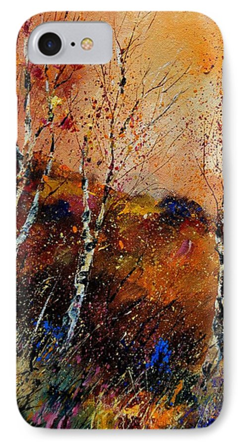 River IPhone 7 Case featuring the painting 3 Poplars by Pol Ledent