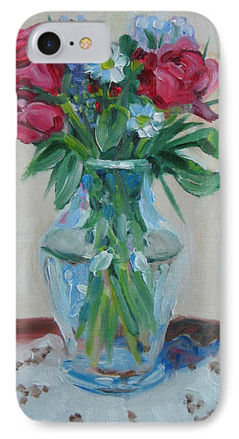 Roses IPhone 7 Case featuring the painting 3 Roses by Paul Walsh