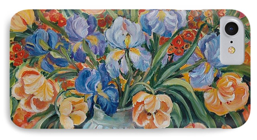 Still Life IPhone 7 Case featuring the painting Tulips by Alexandra Maria Ethlyn Cheshire