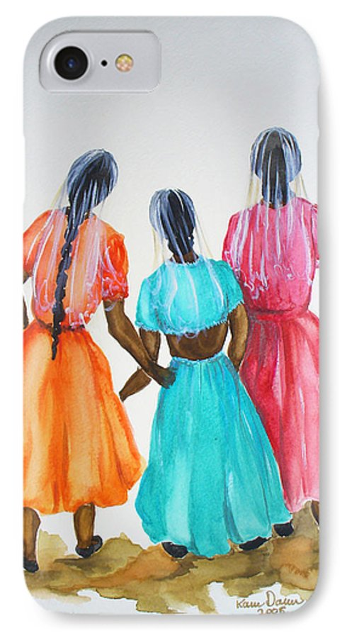 Three Ladies East Indian IPhone 7 Case featuring the painting 3bff by Karin Dawn Kelshall- Best