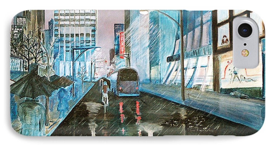 Street Scape IPhone 7 Case featuring the painting 42nd Street Blue by Steve Karol