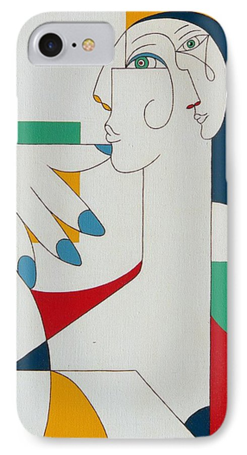 Portrait IPhone 7 Case featuring the painting 5 Fingers by Hildegarde Handsaeme