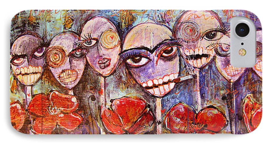 Dia De Los Muertos IPhone 7 Case featuring the painting 5 Poppies For The Dead by Laurie Maves ART