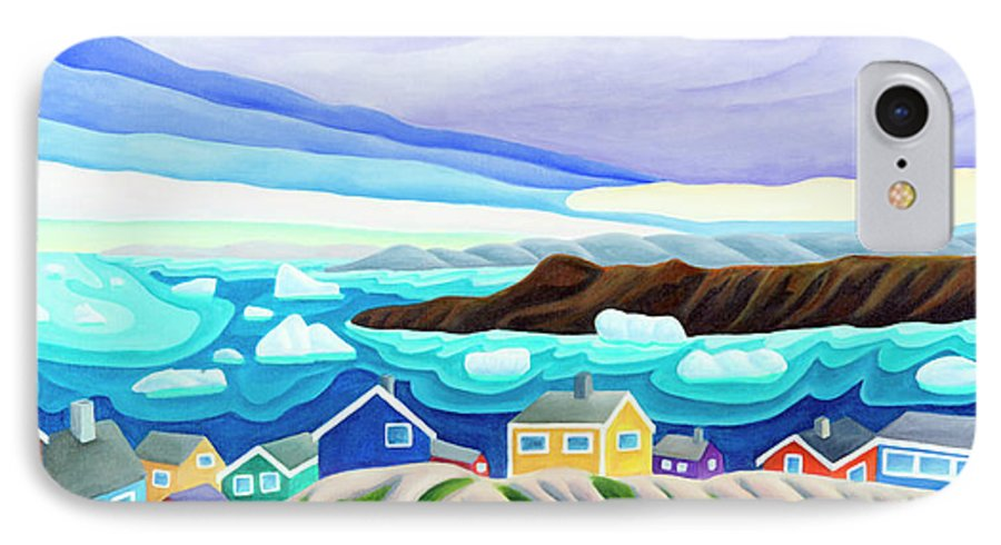 Arctic Landscape. Greenland IPhone 7 Case featuring the painting 69 Degrees 13 Minutes North by Lynn Soehner
