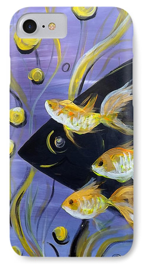Fish IPhone 7 Case featuring the painting 8 Gold Fish by Gina De Gorna
