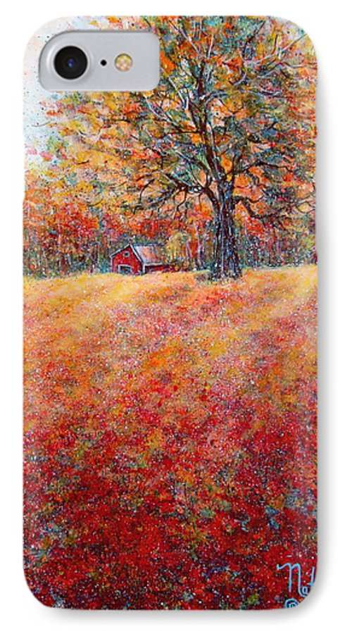 Autumn Landscape IPhone 7 Case featuring the painting A Beautiful Autumn Day by Natalie Holland