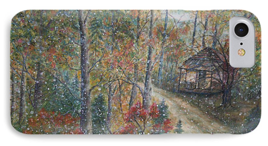 Country Road; Old House; Trees IPhone 7 Case featuring the painting A Bend In The Road by Ben Kiger