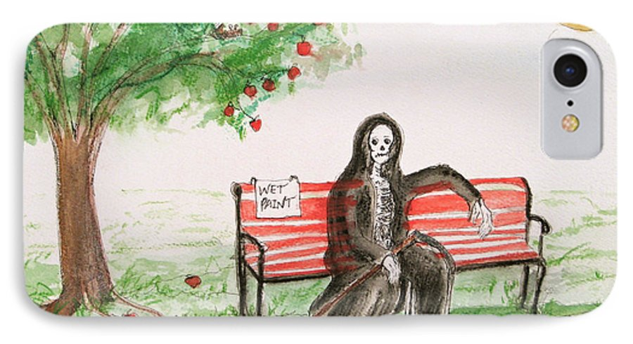 Darkestartist Day Death Holiday Humor Ink Off Paint Park Watercolor Watercolour IPhone 7 Case featuring the painting A Day At The Park by Darkest Artist