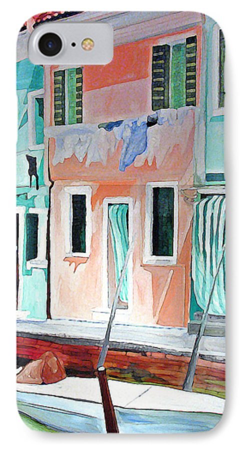 Italy IPhone 7 Case featuring the painting A Day In Burrano by Patricia Arroyo