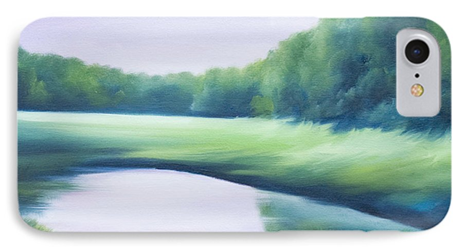 Nature; Lake; Sunset; Sunrise; Serene; Forest; Trees; Water; Ripples; Clearing; Lagoon; James Christopher Hill; Jameshillgallery.com; Foliage; Sky; Realism; Oils; Green; Tree; Blue; Pink; Pond; Lake IPhone 7 Case featuring the painting A Day In The Life 1 by James Christopher Hill