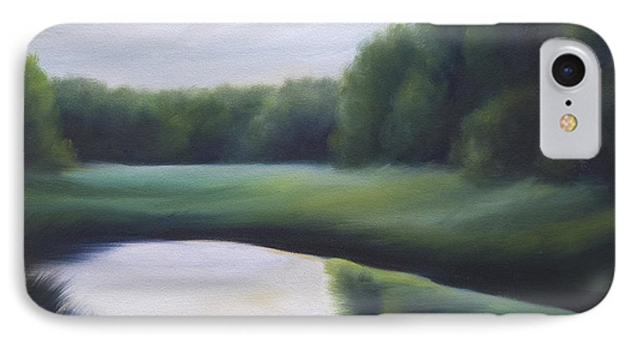 Nature; Lake; Sunset; Sunrise; Serene; Forest; Trees; Water; Ripples; Clearing; Lagoon; James Christopher Hill; Jameshillgallery.com; Foliage; Sky; Realism; Oils; Green; Tree IPhone 7 Case featuring the painting A Day In The Life 3 by James Christopher Hill
